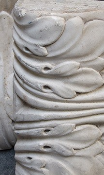close up of marble fireplace component