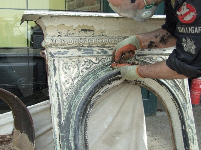 Antique Fireplace Restoration Hastings and East Sussex - restoring a fireplace in workshop