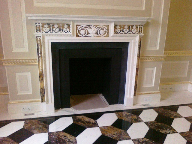 view of marble fireplace installed